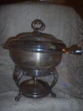 Antique Ornate SilverPlate Pedestal Chafing Dish Warming Stand Buffet Server Set