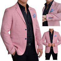 D/&R Fashion Uomo Giacca Blazer Grigio Scuro Strisce Casuale Formale Cotone Morbido Slim Fit
