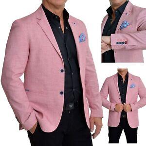 Herren Rot Freizeit Blazer Smart Anzug Jacke Leinenoptik Baumwolle Slim Fit End
