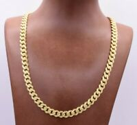 7.5mm Miami Cuban Royal Link Chain Diamond Cut Necklace Real 10K Yellow Gold