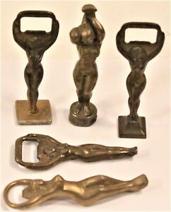 Vintage Lot of 5 Figural Naked Lady Woman Solid Brass Bottle Openers