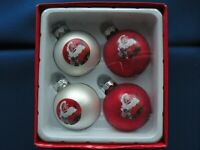 "Coca-Cola 2009 Tree Ornament 4 Mini Glass ball Santa holding Coke bottle 2"" high"