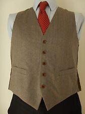 Vintage Mens Blended Brown With Blue Brown Stripes Waistcoat Vest Size UK 38