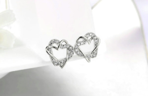 18K White Rose Gold Love Heart Silver Cubic Zirconia Stud Earrings Jewellery