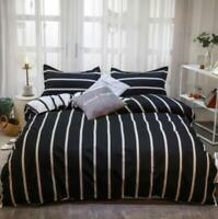 3D Black Silver Vertical Stripes KEP8608 Bed Pillowcases Quilt Duvet Cover Kay