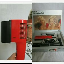 Vintage 70s Braun Hairstyling Set Hairdryer Curler Brush Retro Boxed Rare
