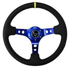 "NRG Steering Wheel Black Leather & Blue Spoke w/ Yellow Mark 350mm 3"" DEEP DISH"