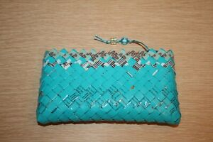 Unbranded Teal Blue Candy Wrapper Coin Purse Clutch Wallet Nice Recycle Eco