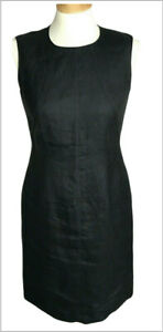 Talbots 4 petite dress classic sleeveless 100% Irish linen black sheath lined
