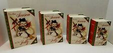Set of 4 New Vintage Snowman with Broom Christmas Stacking Nesting Gift Boxes