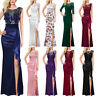 Womens Ruched Ruffle Floral Embroidery Lace Formal Evening Wedding Maxi Dress