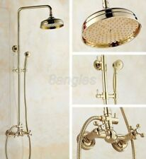 """Polished Gold Brass Rain Shower Faucet with 8"""" Shower Head + Hand Shower 8gf321"""