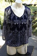 NWT INC International Concepts Printed Peasant Top Blue and White Size L $59.50