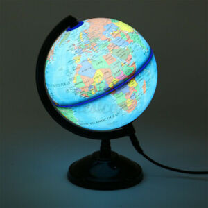 Globe World Map LED Light Geography Education Toy With Stand Home Decoration