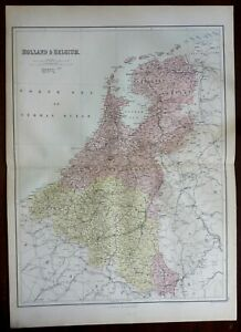 Holland & Belgium Netherlands Luxembourg Amsterdam Brussels 1876 A & C Black map