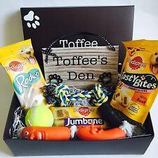 Personalised Dog Treat Pedigree Gift Box Hamper Toys Wooden Pet Plaque