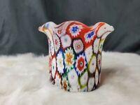 "Murano Millefiori Italian Art Glass Ruffle Edge Satin Vase Toothpick Holder 3"""