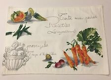 Zina Vasi Green Market Vegetable Theme Fabric Placemats 6 New