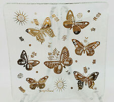 Set Vintage Square Glass Plates Gold Butterfly Trim Textured Georges Briard Mcm