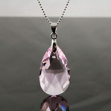 Rose Pink Teardrop Crytal 925 Silver Necklace with genuine Swarovski Elements