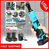 3/8''42V Electric Cordless Ratchet Right Angle LED Wrench Impact + 2 Battery US