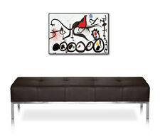 Museum leather seating bench. Quality item.Illustration real leather dark brown.