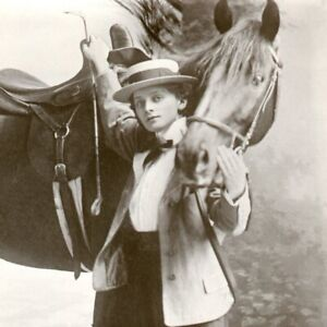 Actress Miss Dorothy Marsdin RPPC postcard antique with horse riding crop