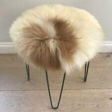 100% Genuine Real Sheepskin Seat Pad British Roundie 35cm Lights Cream / Browns