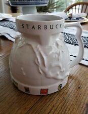 Vintage Starbucks Embossed Globe Travel Mug With Lid Ceramic