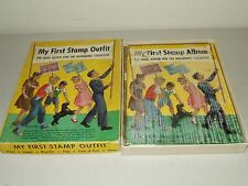 """Vintage 1952 """"My First Stamp Outfit"""" Stamp Collecting Kit / Book with Stamps"""