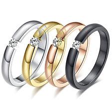 Damen Ring aus Edelstahl mit Stein schlicht und edel 4 Farben stylisch cool