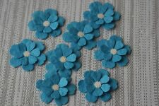 12 BLUE MULBERRY PAPER 3D FLOWERS. CARD TOPPER, WEDDING STATIONERY, CONFETTI