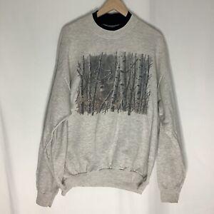 Vintage 90s Lee Grey Sweater Deer Graphic Sweatshirt Mens USA Size XLarge