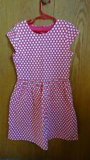 Euc ~ Carter's Girl's size 8 dress short sleeves large polka dots hot pink color
