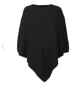 BNWT Holland Cooper Black Windsor Knit Wrap Poncho One Size 100% Genuine