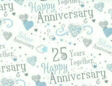 2 Sheets Gift Wrapping Paper HAPPY SILVER WEDDING ANNIVERSARY 25 Years Together