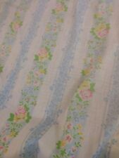 Vtg Pacific Miracle Full/ Double Flat Fitted Sheet white floral Blue Yellow Pink