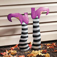 Set of 2 Wicked Witch Legs Metal Halloween Garden Stakes