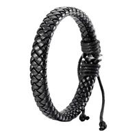 Retro Men Women Leather Bracelet Bangle Cuff Rope Black Surfer Wrap Adjustable