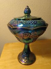 Indiana Blue Harvest Carnival Glass Covered Stem Candy Dish Grape Irridescent