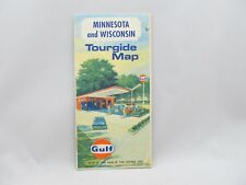 Gulf 1968 Minnesota and Wisconsin  Tourgide Map - 1960's gas station and cars