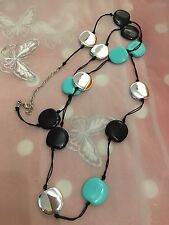 """Gorgeous Beaded Necklace.Turquoise Black & Silver Beads On 38"""" Adjustable Length"""