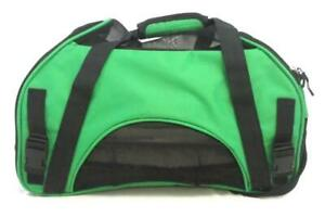 Pet Carrier Medium Size Travel Bag Canvas Mesh Green Black With Removable Bed