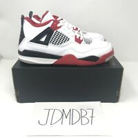 Air Jordan 4 Retro Fire Red Sneakers 2020 Size 3Y White Red BQ7669-160 Kids