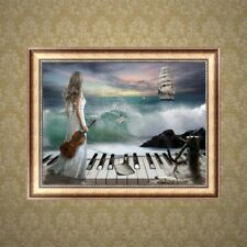 DIY 5D Diamond Music Girl Painting Embroidery Cross Crafts Stitch Home Decor