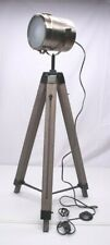 NEW Vtg Retro Tripod Floor Lamp Nautical Spotlight Industrial Decor Wooden Bronz