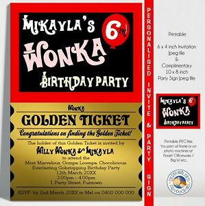WILLY WONKA invitation invite personalised birthday party you print