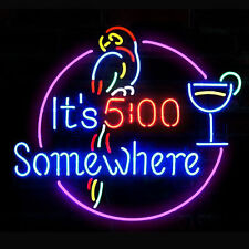 "New It's 5 O'clock Somewhere Left parrot Beer Bar Neon Light Sign 17""x14"""