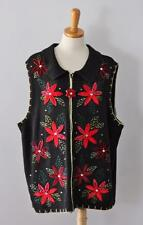 Ugly Christmas Sweater Vest Women 18 20W men XL jumper poinsettias TACKY nwt C36