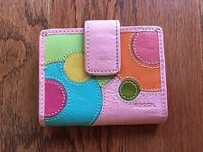 FOSSIL SMALL LEATHER PINK MULTI COLORED DOTS WALLET